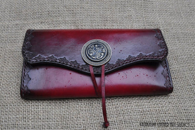 Ladies large leather wallet in Oxblood with ornamentation on edges, MADE TO ORDER - Kazakhsha Leather Art Studio
