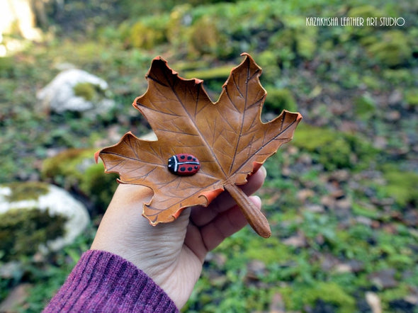 Lady Bird on The Leaf Leather Brooch - Kazakhsha Leather Art Studio