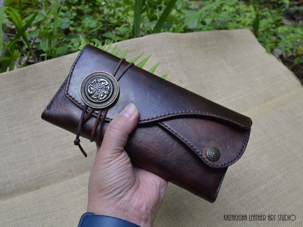 Large Leather Wallet with Celtic clasp in Antique Brown, perfect Gift for Women - Kazakhsha Leather Art Studio