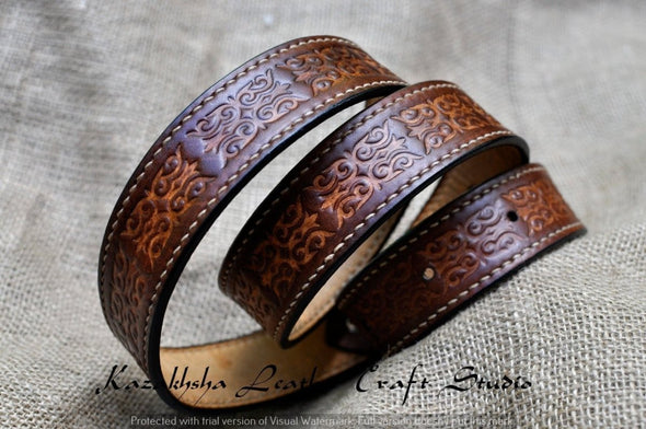 Leather belt, ethnic pattern, black leather belt, very strong, hand stitched, Kazakhsha Style - Kazakhsha Leather Art Studio