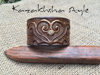 Leather bracelet, ethnic pattern, Ladies bracelet carved and tooled with crystal - Kazakhsha Leather Art Studio
