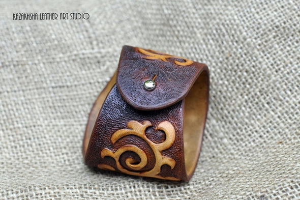 Leather bracelet with ethnic pattern, Kazakhsha hand tooled and carved bracelet - Kazakhsha Leather Art Studio