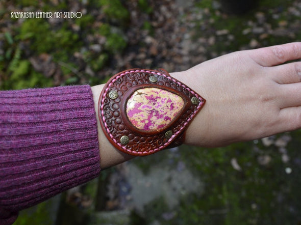 Leather Bracelet with Pink Jasper - Kazakhsha Leather Art Studio