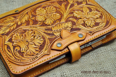 Leather cover in Western Flowers design for Daily Planner, Diary, Organizer, fits A5 size notebooks - Kazakhsha Leather Art Studio