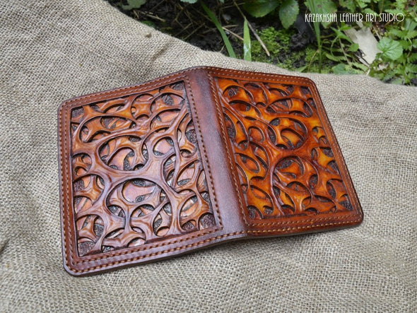 Leather cover with organic pattern for Daily Planner or Organizer, customization available - Kazakhsha Leather Art Studio