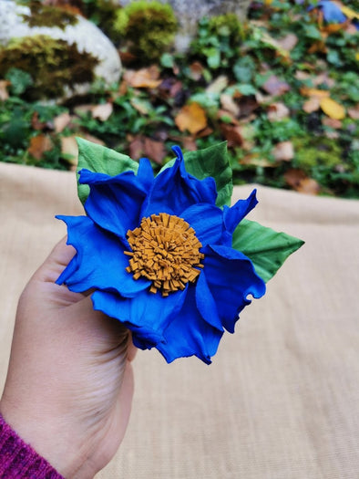 Leather flower brooch in electric blue - Kazakhsha Leather Art Studio