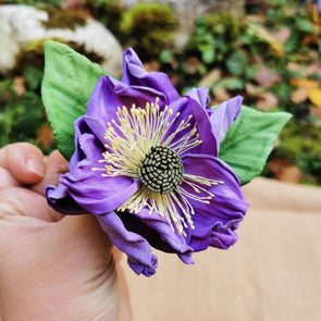 Leather flower brooch in lilac colour - Kazakhsha Leather Art Studio