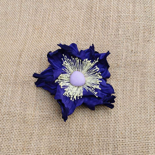 Leather flower brooch in purple colour - Kazakhsha Leather Art Studio