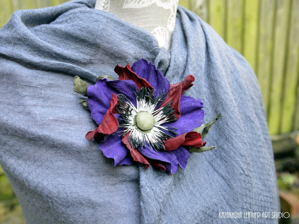 Leather Flower Brooch in Purple & Red, Poppy Flower, Gift For Her - Kazakhsha Leather Art Studio