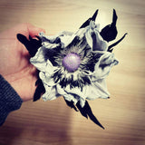 Leather flower brooch in white and black - Kazakhsha Leather Art Studio