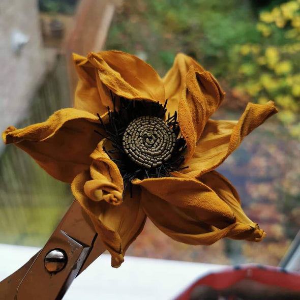 Leather flower brooch in yellow colour - Kazakhsha Leather Art Studio