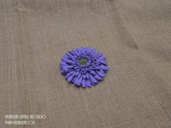 Leather Flowers,Leather Brooch, Gerbera flower brooch, gift for her, Mother's day jewelry - Kazakhsha Leather Art Studio