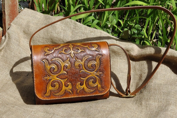 Leather Handbag, messenger handbag in Kazakhsha style, MADE TO ORDER - Kazakhsha Leather Art Studio
