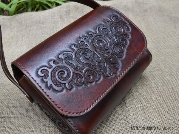 "Leather handbag, messenger ""Mirgul"" MADE TO ORDER - Kazakhsha Leather Art Studio"