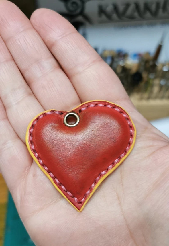 Leather Key Fob, Heart shape 3D, present idea, gift for her - Kazakhsha Leather Art Studio