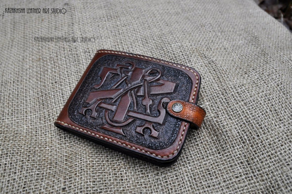 Leather Wallet Designer, Customized design, Leather wallet, Bifold wallet, personalized monogram - Kazakhsha Leather Art Studio