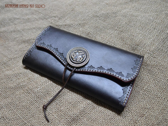 Leather wallet in Black with tooled decorative ornamentation, saddle tan contrast interior - Kazakhsha Leather Art Studio