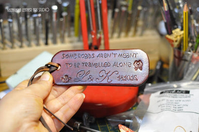 Luggage Tag, Customised with wisdom words or words of love - Kazakhsha Leather Art Studio