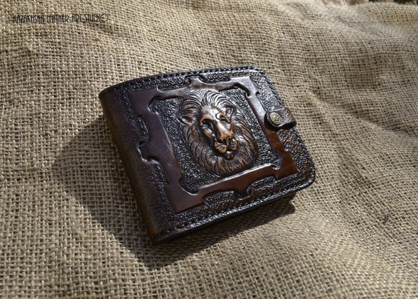 Made to order Leather wallet, Bi-fold wallet with the head of lion, Genuine Leather Wallet Designer - Kazakhsha Leather Art Studio