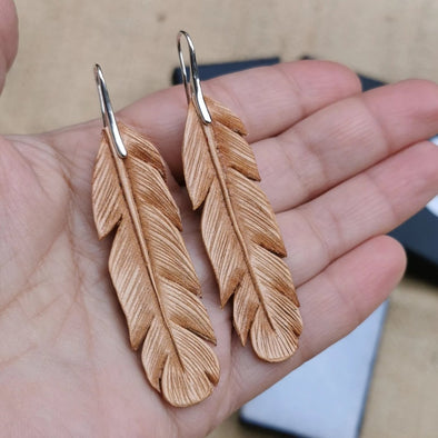 Natural Leather Feather earrings, handmade earrings - Kazakhsha Leather Art Studio