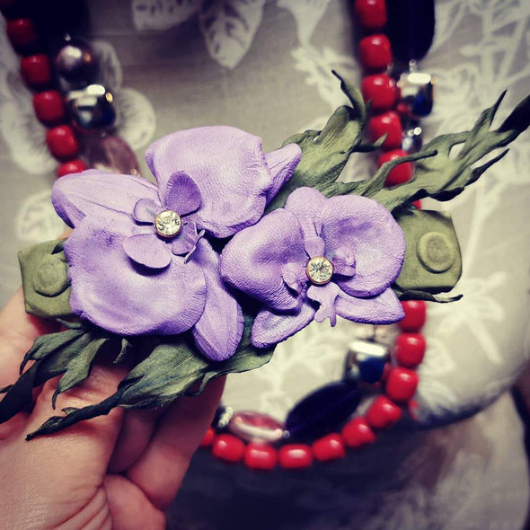 Orchid leather flowers on hair clip - Kazakhsha Leather Art Studio