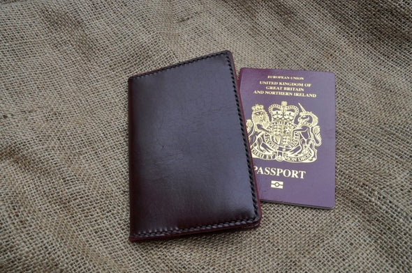 Passport cover in burgundy with brown contrasting seam - Kazakhsha Leather Art Studio