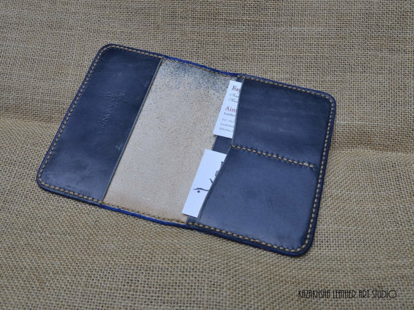 Passport cover in navy blue with contrasting stitching seam - Kazakhsha Leather Art Studio