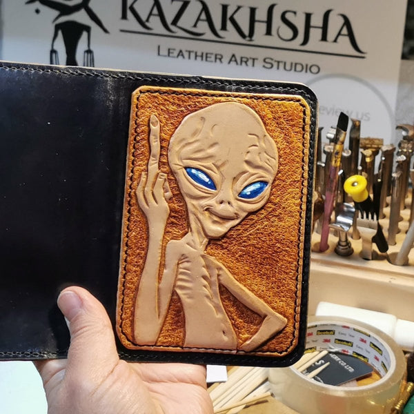 Paul the Alien passport cover, made to order - Kazakhsha Leather Art Studio