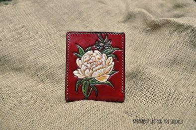 Peony Leather wallet, Red wallet, Ladies bifold wallet with Peony flower, hand painted - Kazakhsha Leather Art Studio