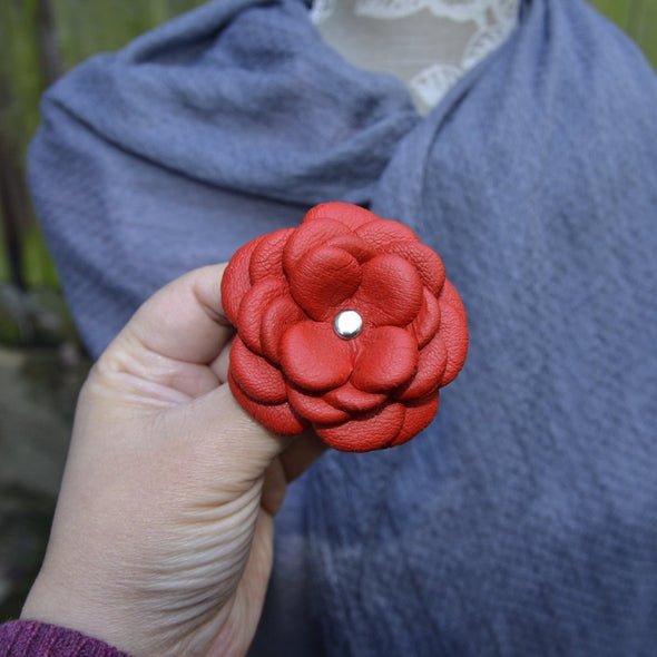 Red Camellia Leather Flower Brooch - Kazakhsha Leather Art Studio