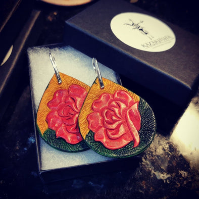 Red roses Leather earrings, handmade earrings - Kazakhsha Leather Art Studio
