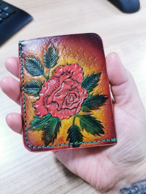 Rose leather card wallet, handmade wallet - Kazakhsha Leather Art Studio