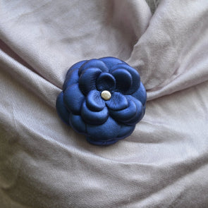 Royal Blue Leather Camellia Flower Brooch - Kazakhsha Leather Art Studio