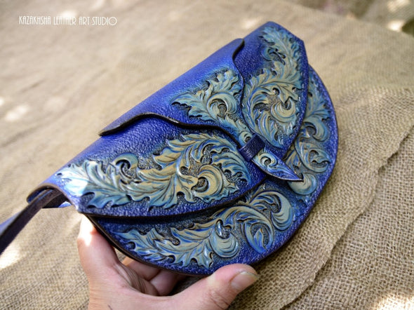 Royal Blue occasion wear leather clutch bag, MADE TO ORDER - Kazakhsha Leather Art Studio