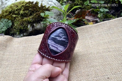 Royal Plume Jasper or Purple Jasper natural stone Leather Bracelet, Crown Chakra stone - Kazakhsha Leather Art Studio