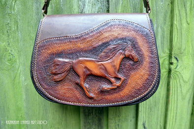 Saddle Leather Handbag with Running Horse Image, Equestrian style - Kazakhsha Leather Art Studio