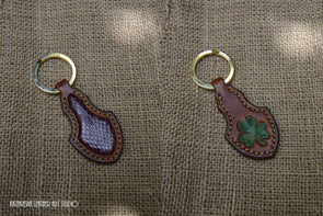 Shamrock Key Fob with snakeskin inlays - brown with Shamrock tooled design - Kazakhsha Leather Art Studio