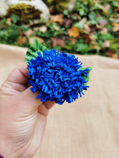 Small Leather flower brooch in electric blue, chrysanthemum flower - Kazakhsha Leather Art Studio