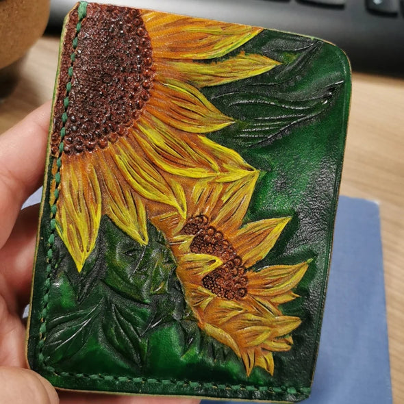 Sunflowers leather card wallet, handmade card wallet - Kazakhsha Leather Art Studio