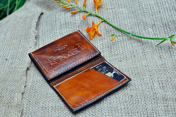 Tri-fold leather card wallet compact leather wallet with driving license Front Pocket Wallet - Kazakhsha Leather Art Studio