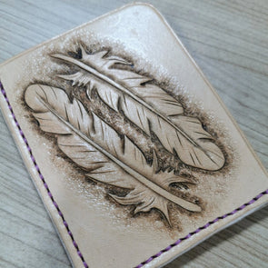 Two feathers leather card wallet - Kazakhsha Leather Art Studio