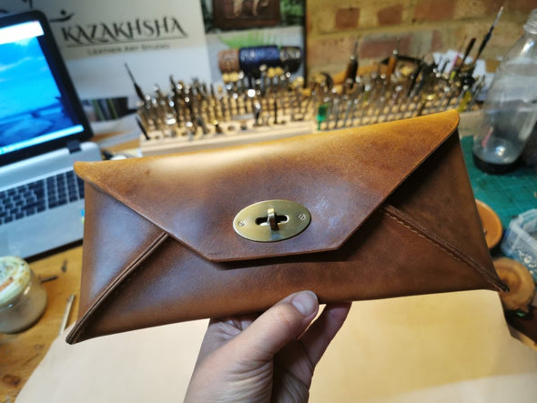 Vintage style leather clutch bag, envelope handbag - Kazakhsha Leather Art Studio