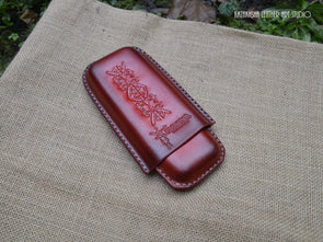 Wet molded hard Leather case for reading glasses or pencil case, leather accessory - Kazakhsha Leather Art Studio
