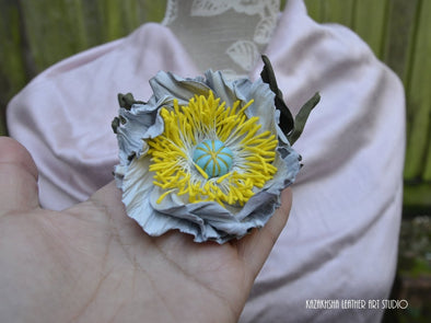 White off leather flower brooch, poppy flower, corsage flower, gift for her - Kazakhsha Leather Art Studio