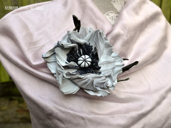 White-Off Poppy Leather Flower Brooch - Kazakhsha Leather Art Studio