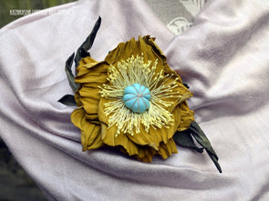 Yellow Leather Flower brooch, Poppy Flower, Corsage Flower, gift for her - Kazakhsha Leather Art Studio