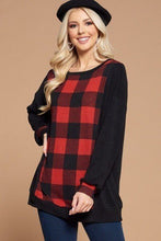 Load image into Gallery viewer, Plus Size Buffalo Plaid Check Contrast Pullover Tunic Top