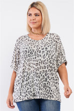 Load image into Gallery viewer, Plus Light Grey Leopard Print Relaxed Round Neck Top