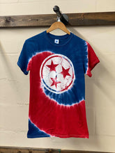 Load image into Gallery viewer, Red White Blue Tie Dye Tristar