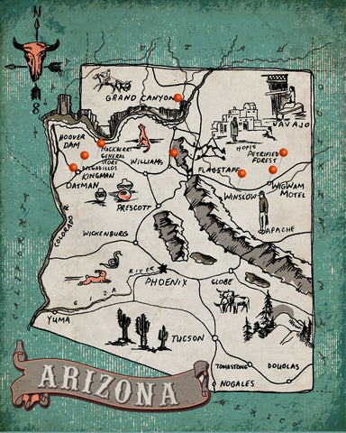 Western Itinerary Map - Route 66 Arizona